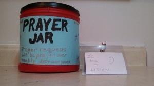 prayer jar with listening badge